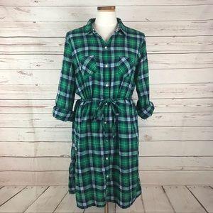 Old Navy Green Plaid Long Sleeve Shirt Dress L
